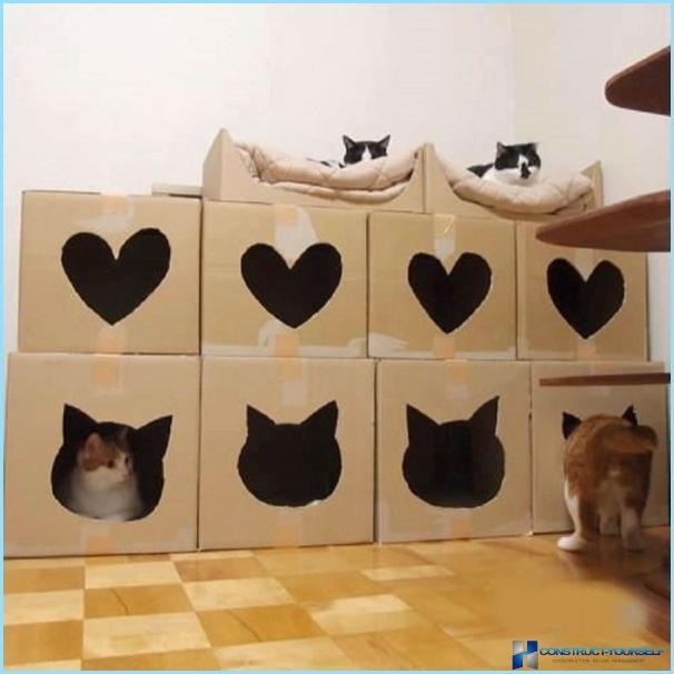 Кошачий домик из коробок своими руками 12