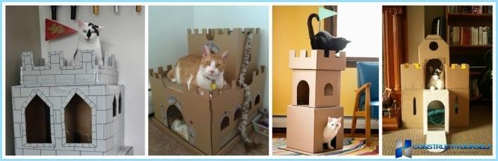 Как сделать кошкин дом своими руками из коробки