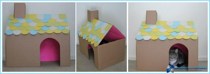 Кошке домик из коробок своими руками 28