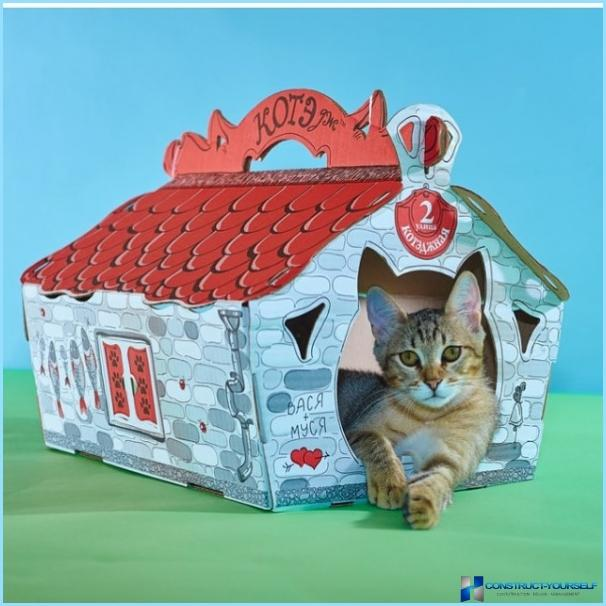 Домики из картона для кошек