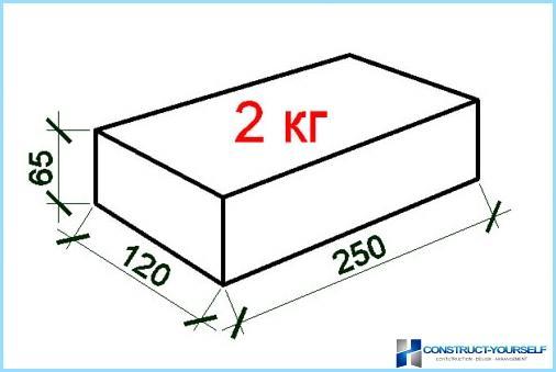 Izmērs un svars balto smilšu-kaļķu ķieģeļu