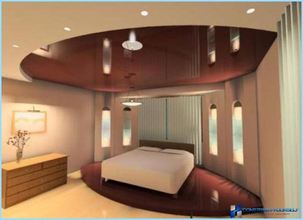 Дизайн стель з гіпсокартону для спальні з фото