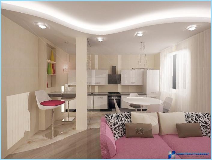 Das design aus einem wohnzimmer mit kochnische 18 20 25 for Wohnzimmer qm