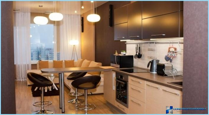 La progettazione di un soggiorno con angolo cottura 18, 20, 25 mq + foto