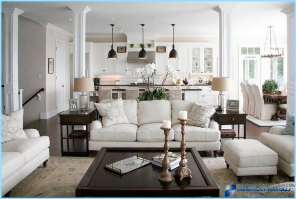 Design-Wohnzimmer 30, 40 qm, mit Küche + Fotos