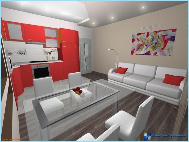 Ontwerp woonkamer 30, 40 vierkante meter, met keuken   foto's