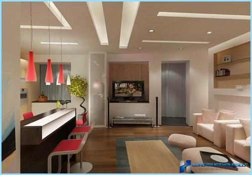 Ontwerp woonkamer 30, 40 vierkante meter, met keuken + foto's