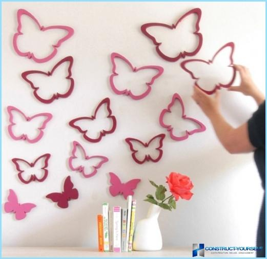 Butterflies on the wall in the interior of the apartment