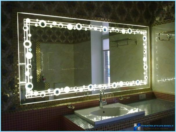 Light mirror in the interior of a bathroom