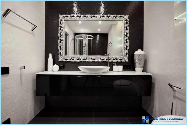 The design of black and white bathroom