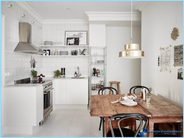 Disegno della cucina senza pensili superiori + foto