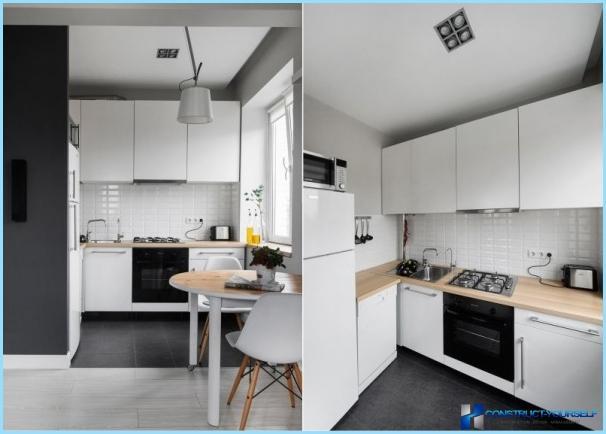 Suunnittelu mustavalkoinen keittiö huoneistossa