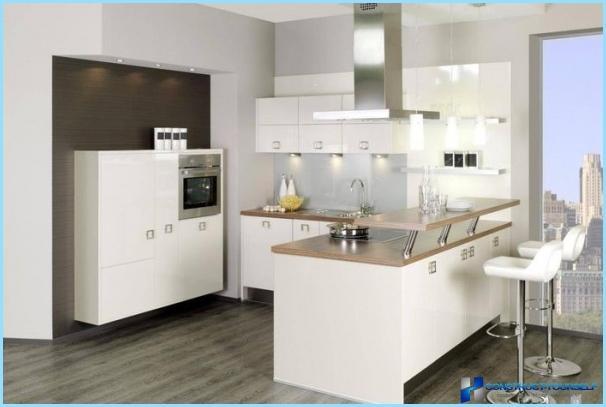 Virtuve ar brokastu bāru: Moderns dizains