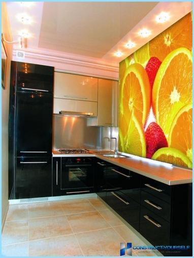 Photo sienas virtuvē, paplašinot telpas