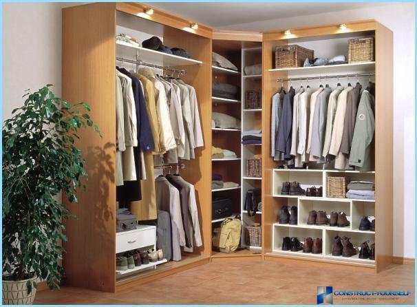 hjørne klædeskab Dressing i gangen: indbygget, hjørne, i en niche + fotos hjørne klædeskab