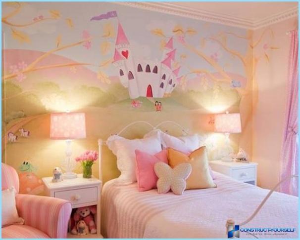 ภาพจิตรกรรมฝาผนังในการตกแต่งภายในสำหรับห้องพักของเด็ก