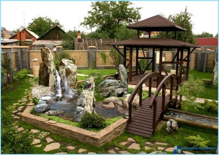 beautiful landscape design suburban area photo