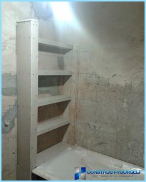 Полки из гипсокартона в ванной комнате (8 фото)