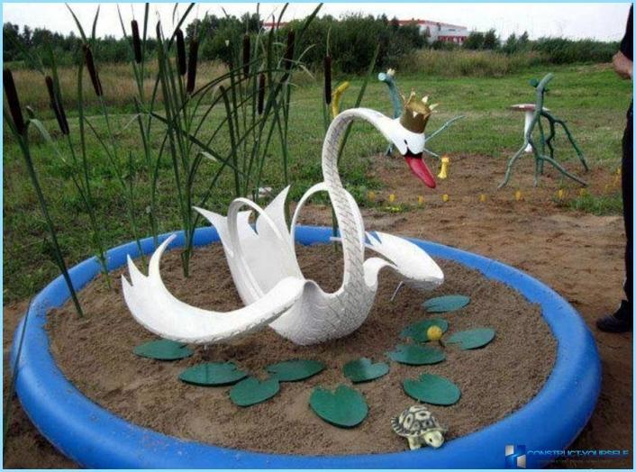 Лебеди из покрышек как сделать