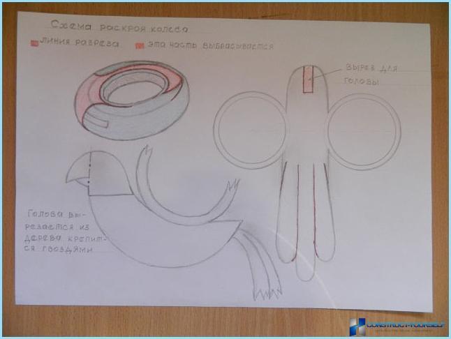 Как сделать лебедя из покрышки схема