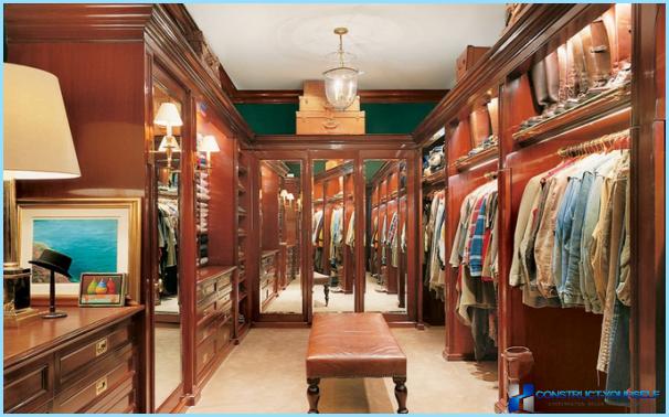 Varianti interjera dizainu un lielu ģērbtuvi