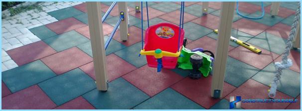 Gumijas skaidiņas pārklājums bērnu rotaļu laukumos
