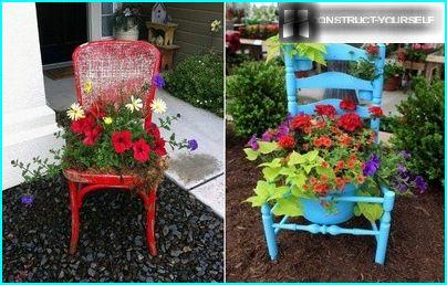A flower bed, chair