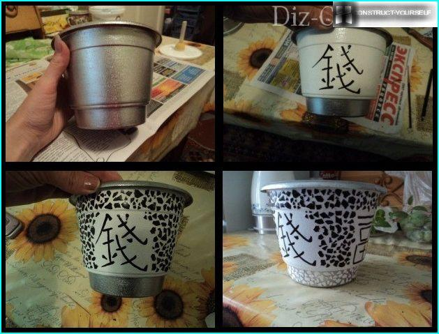 Decorating pots eggshell