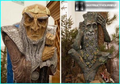 Garden sculptures of wood