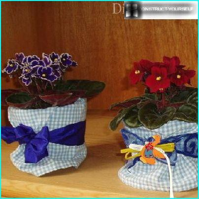 Trim pot, decorated with ribbons and cloth