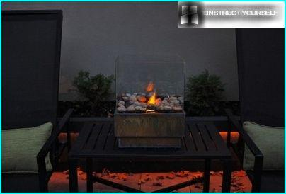 Table fireplace with a rectangular base