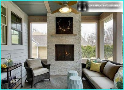 Lined with stone fireplace