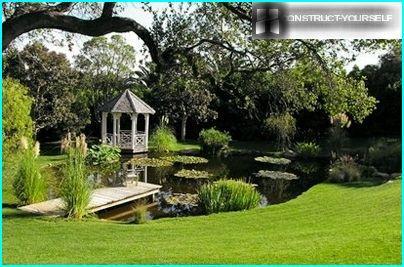 Gazebo near a pond
