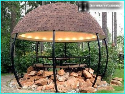 The unusual design of the metal gazebo