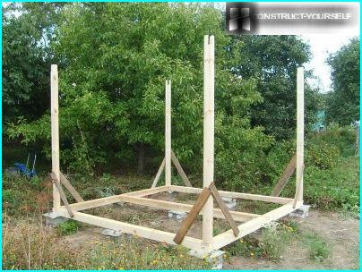 The frame of the timber for the gazebo