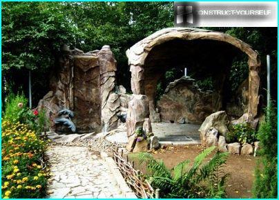 Pergola and waterfall