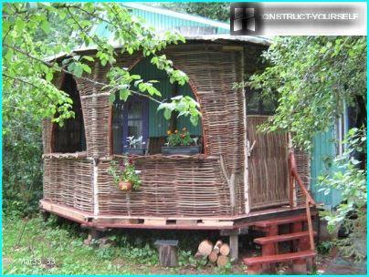 Garden furniture made of cane
