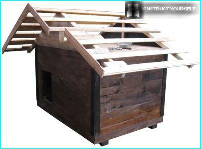 Crate of bunks covered with roofing felt and shingles