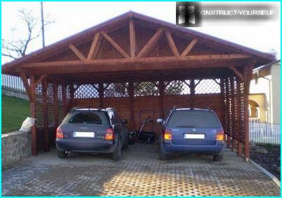 Carport, calculated on the placement of two cars