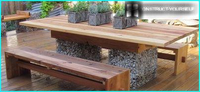 Box-shaped gabions used for the manufacture of garden furniture