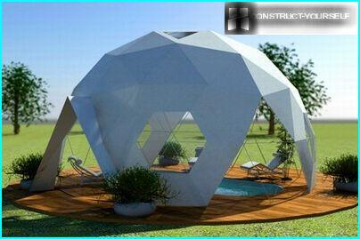 Dome tent over the summer swimming pool