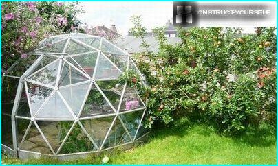 The dome greenhouse, covered with polycarbonate