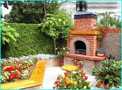 Oven barbecue surrounded by greenery