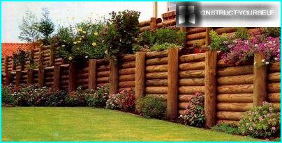 Retaining wall made of logs