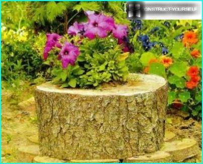 Stump for natural plant pots