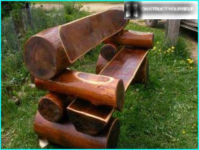 Bench made of logs