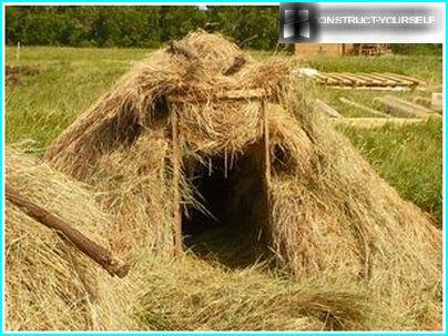 Romantic hut made of straw