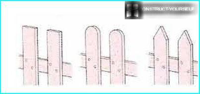 Різновиди верхівок паркану