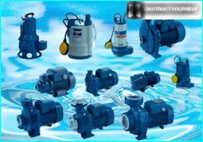 Variety of household pumps for pumping water