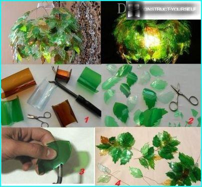Lamp made of plastic leaves